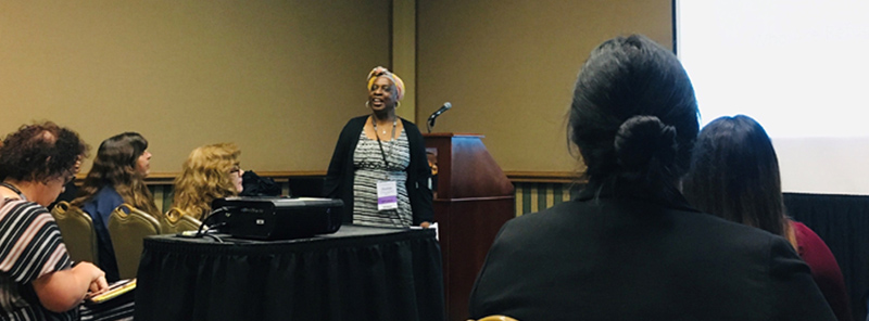 Woman presenting at NASW TX Conference